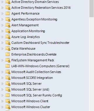 Folder view in the SCOM Navigation pane showing many individual management packs.  Each of these folders may contain one or more Alert Views.