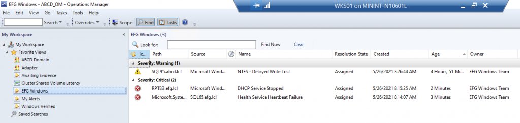 """Results of the Custom Alert view showing the """"Health Service Heartbeat Failure"""" alert generated as part of the test, plus two other alerts assigned to the EFG Windows Team."""