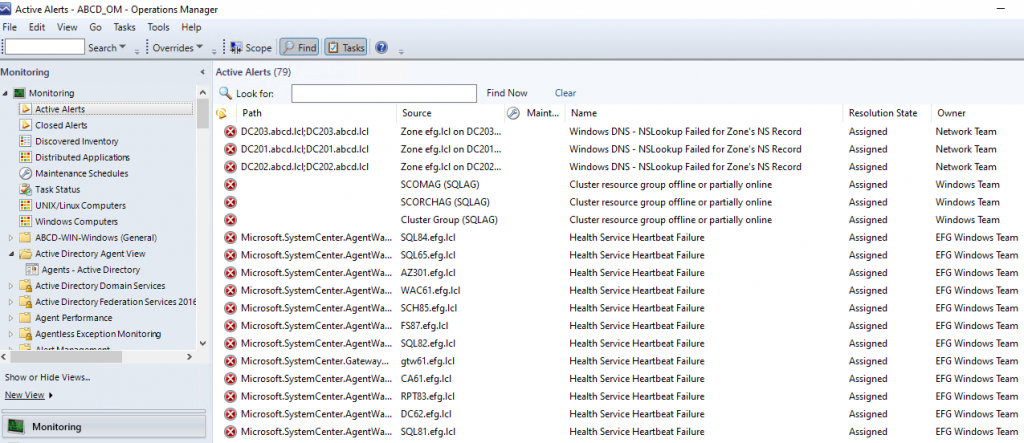 Screenshot from SCOM Console showing several related alerts.