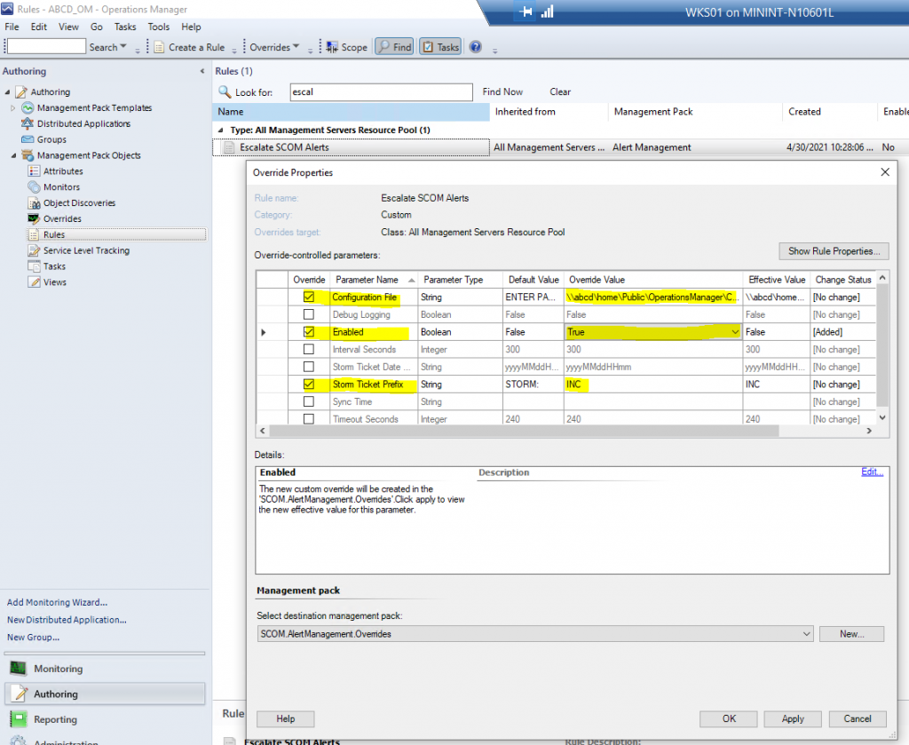 """Screenshot from SCOM showing how to Enable the """"Escalate SCOM Alerts"""" rule."""