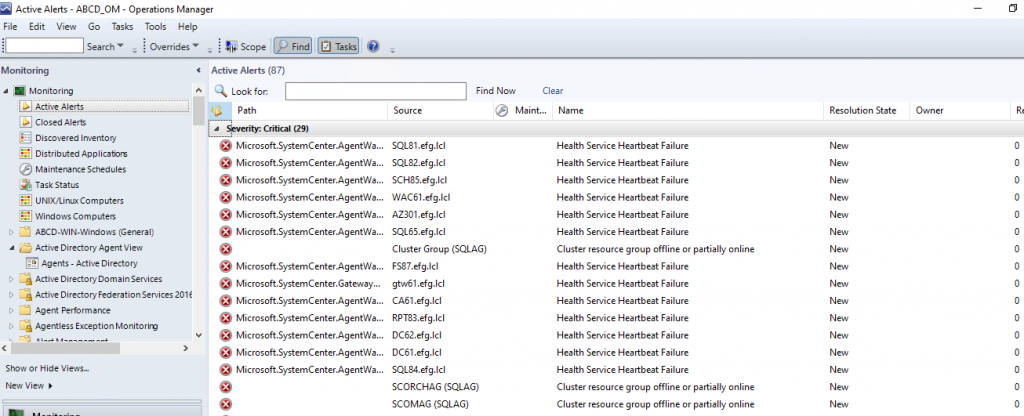 Screenshot from SCOM showing new related alerts.
