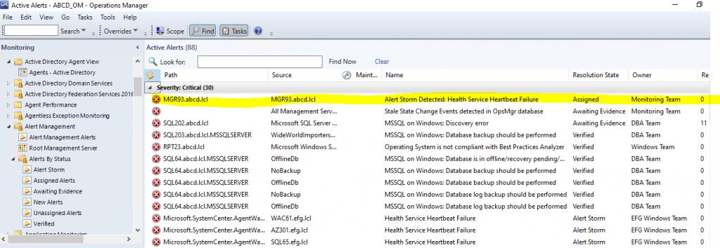 Screenshot from SCOM showing the master alert for an Alert Storm.