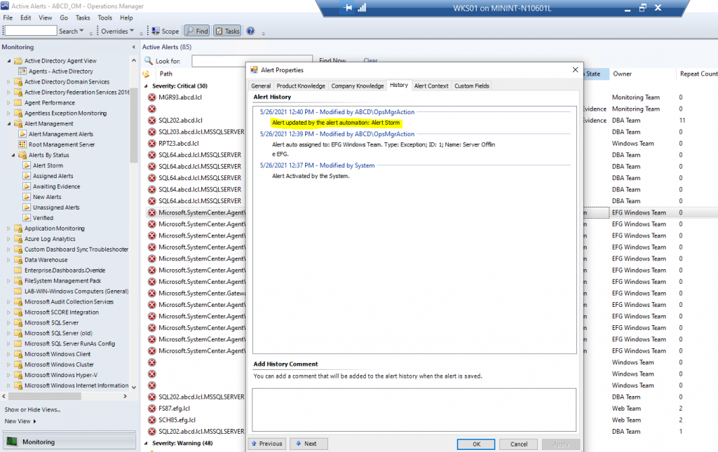 """Screenshot from SCOM showing the Alert History tab.  This includes information showing that the Alert was set to """"Alert Storm"""" resolution state."""