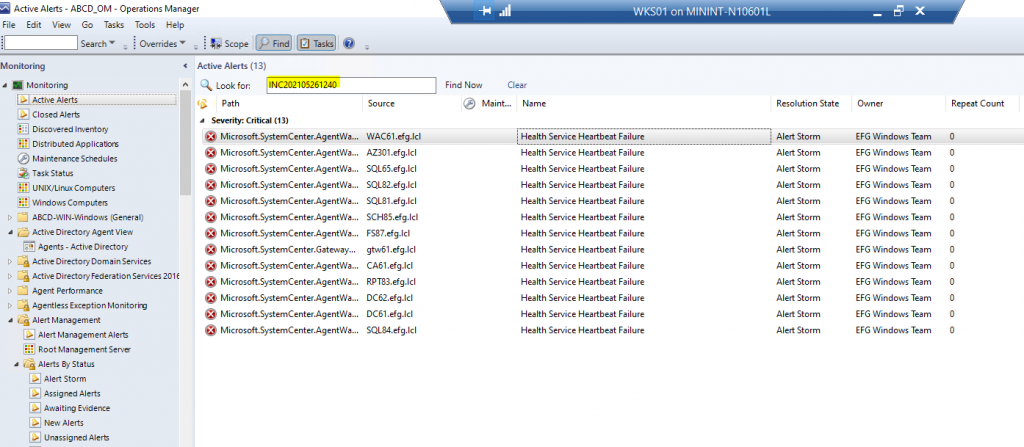 """Screenshot from SCOM showing the """"Look for:"""" feature.  User has filtered alerts by the internal Ticket Id."""