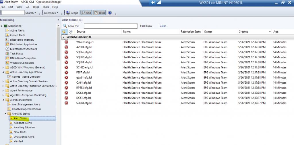 Screenshot from SCOM showing the Alert Storm view in the Alert Management MP folder.