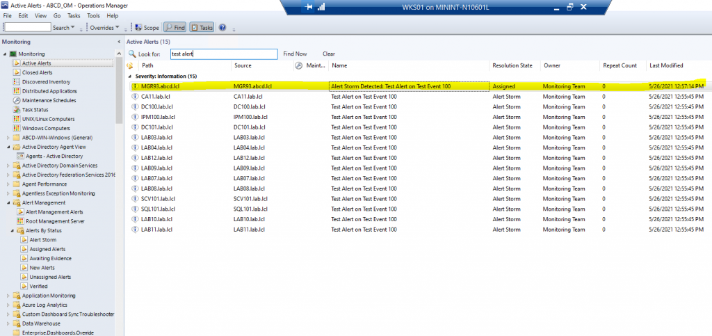 Screenshot from SCOM showing related Alerts that are part of an Alert Storm along with the Master Alert.
